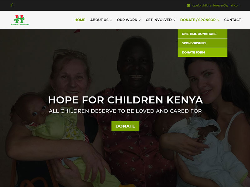 Web stranica Hope for Children Kenya